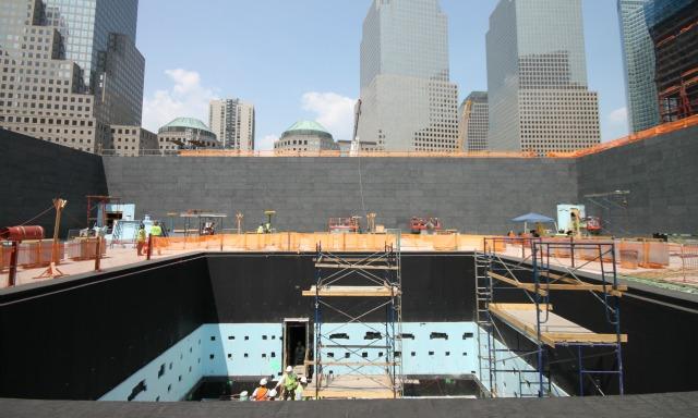 The memorial under construction.