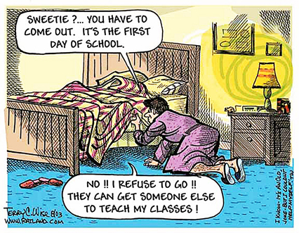 Another popular cartoon this year shows a teacher having to deal with ...