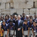 Barcelona FC soccer players visited the Western Wall in Jerusalem today. (Gilad Zamir/Courtesy of Israel Tourism Ministry)