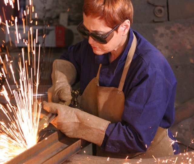Dina Merhav in her workshop.