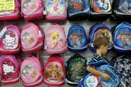 Buying school bags in preparation for the first day of school. Photo by Flash90.