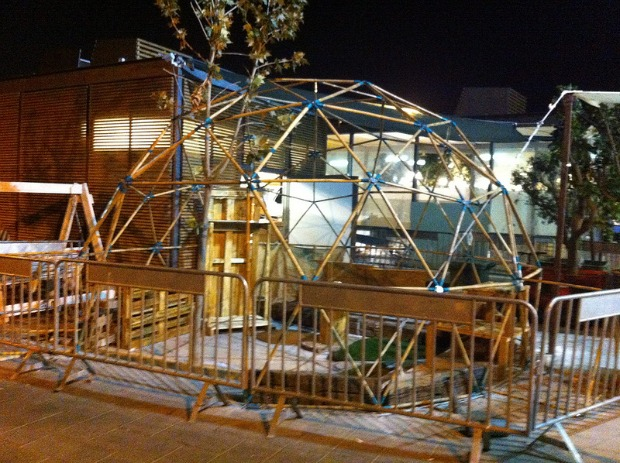 Botanica's geodesic dome under construction at The First Station.