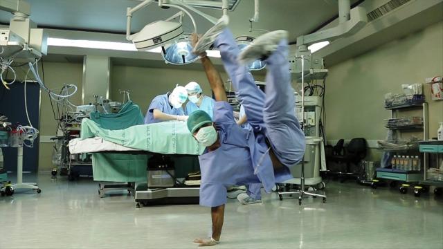 Doctor breakdancing