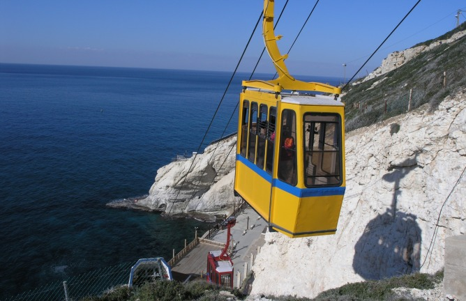 The cable car at Rosh Hanikra.