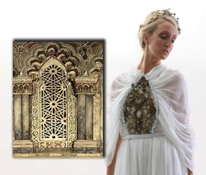 Chiffon wedding gown by Levi Shenhav, inspired by a Spanish synagogue.