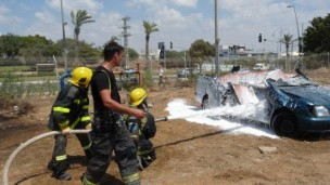 Scouts at the Fire and Rescue training school in Rishon LeZion. Photo courtesy of JNF