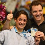 Judoka Yarden Gerbi and her coach Shani Hershko celebrate her gold medal win at the World Championships.