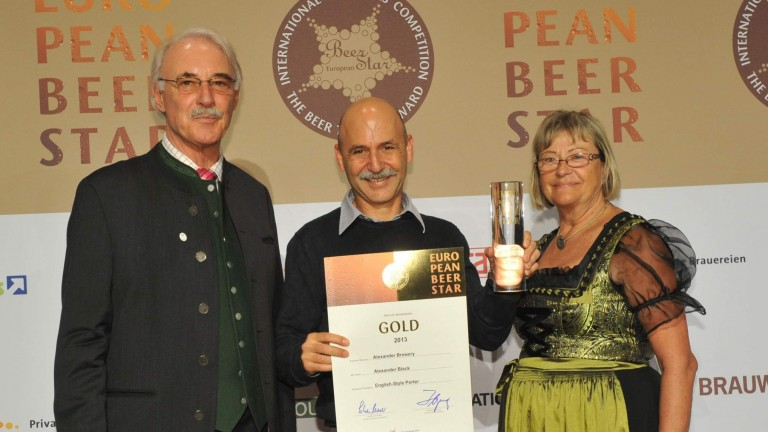 And the European Beer Star for best English Porter goes to.... Ori Sagy, CEO of Israel's Alexander brewery.