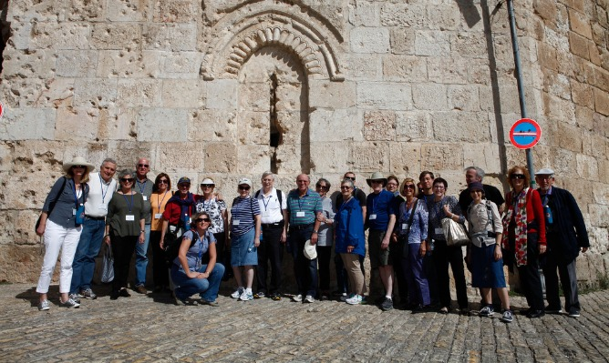 The Journey to Israel group in the Old City of Jerusalem. That's me, third from right in the blue hat. Photo by Ariel Jerozolimski