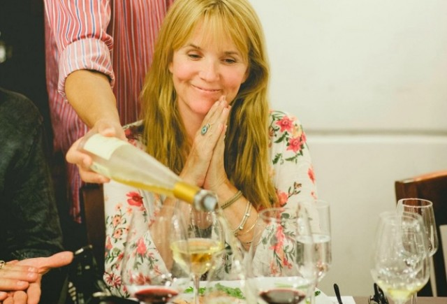 Lea Thompson at the Golan Heights Winery in Katzrin. Photo courtesy of Golan Heights Winery and America's Voices