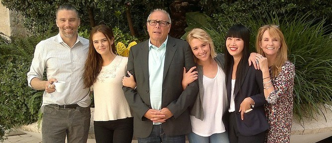Anson Mount, Zoey Deutch, Howard Deutch, Madelyn Deutch, Vivian Bang and Lea Thompson in Jerusalem. Photo by Abigail Klein Leichman