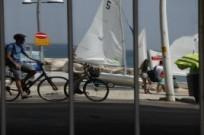 Bicycling on the Tel Aviv promenade.