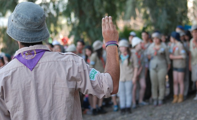 High-school-age counselors tend the younger Scouts.