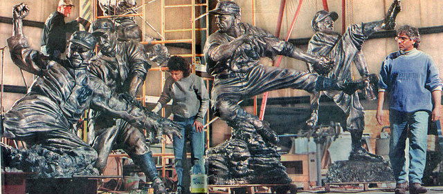 Julie Rotblatt Amrany and Omri Amrany finishing their 1999 commission to immortalize Detroit Tigers greats Hank Greenberg, Ty Cobb, Hal Newhouser, Al Kaline and Charlie Gehringer.