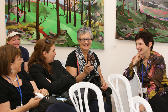 Participants on the Journey to Israel trip find out about the local art scene. (Roy Katalan)