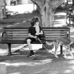 A boy takes a rest from walking his dog on Tel Aviv's trendy Rothschild   Boulevard.