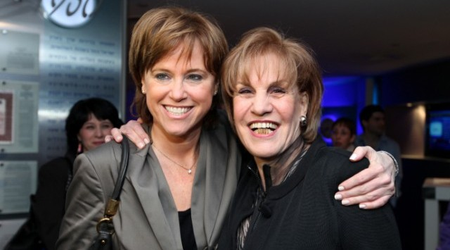 Bank Leumi CEO Rakefet Russak-Aminoach, left, with former Leumi CEO Galia Maor. Photo by Moshe Shai/Flash90