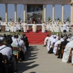 Latin Patriarch of Jerusalem Fouad Tual hosts Catholic faithful in Nazareth. (Nissim Schorer)