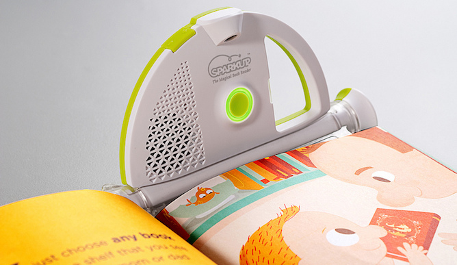 Sparkup attaches to any picture book, allowing kids of all ages to read along with the personalized, pre-recorded voice of any or all loved ones.