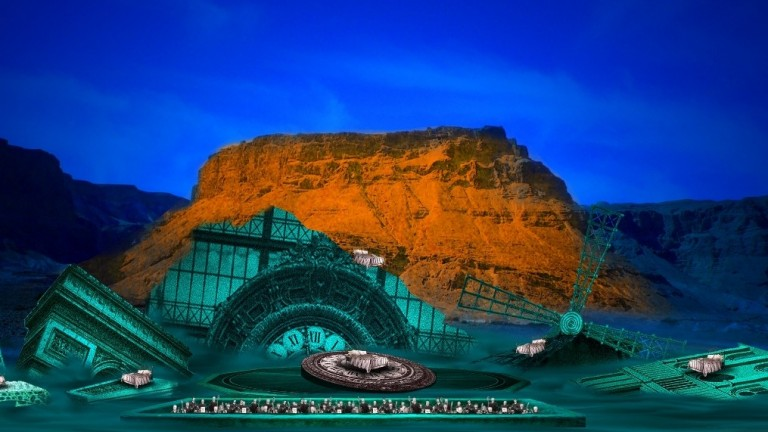 An illustration for the Israeli Opera production of 'La traviata' at Masada in June 2014.
