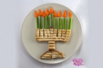 Maor Bar's grilled-cheese-veggie hanukkiyah.