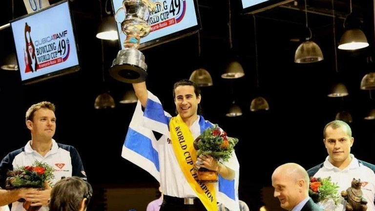 Or Aviram lifts Israel's first-ever Bowling World Cup. (Photo: Or Aviram Facebook Page)