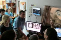 Rambam staffers monitoring Sami Zangi's groundbreaking guided ultrasound treatment.