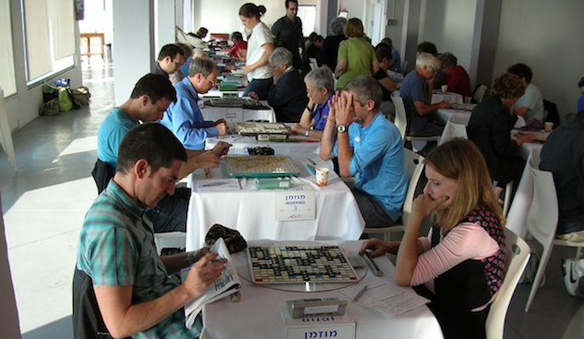 Evan Cohen, left -- Israel's top ranked Scrabble player on the international circuit -- plays Naomi Landau at a previous Israeli Open Scrabble Tournament.