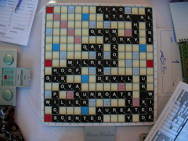 Gameboard from an Israeli Scrabble Open.