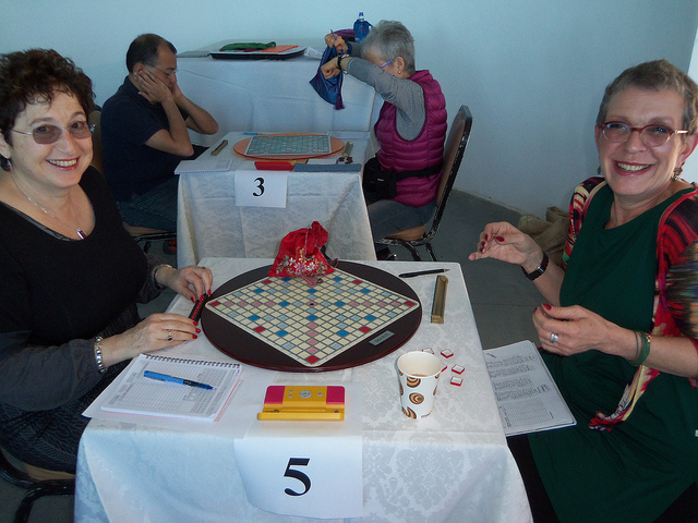 Maureen Hoch (left) and Avril Dawn Shaw, both of the Tel Aviv Scrabble Club.