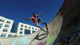 Skateboarding at Galit Park in Tel Aviv. Photo by Flash90.