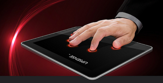 UpSense's keyboard recognizes intuitive finger gestures.
