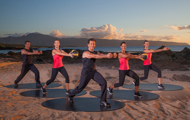 Exercising against the Hawaii sunset.
