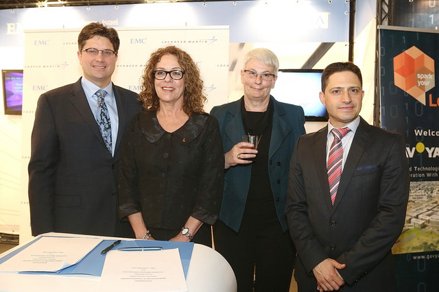 From left, John D. Evans, vice president for business innovation at Lockheed Martin; Dr. Rivka Carmi, president of Ben-Gurion University; Orna Berry, general manager of EMC Israel Center of Excellence in Israel; and Beersheva Mayor Ruvik Danilovich. Photo by Coby Kantor