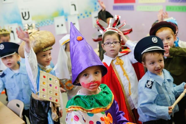 Little boys get into the Purim sprit in Beitar Illit. Photo by Nati Shohat/Flash 90.