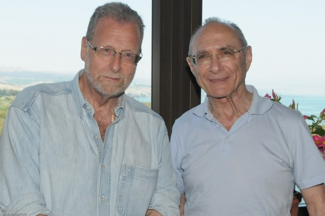 Peter Greenberg and Tourism Minister Uzi Landau promote Israel as a movie destination. (Photo: Haim Azoulay)