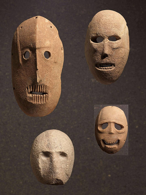 These 9,000-year-old masks found in the Judean hills are on loan from the collection of Judy and Michael Steinhardt in New York
