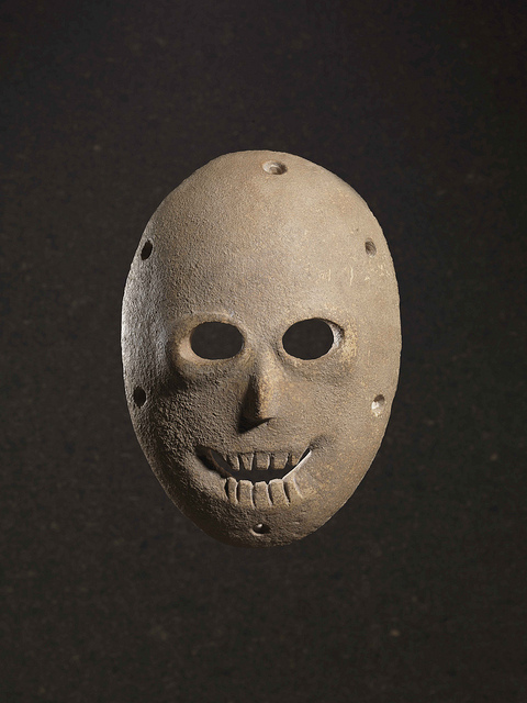 This Neolithic mask was found in Nahal Hemar Cave in the Judean Desert and is decorated with paint.