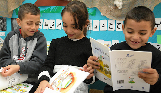 The kids at preschool in Baka al-Gharbiyeh, 30 miles northeast of Tel Aviv, love their new books.