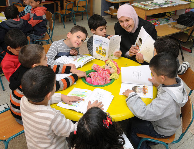 Teachers and parents shared reading time with the kids in the Baka al-Gharbiyeh classrooms.