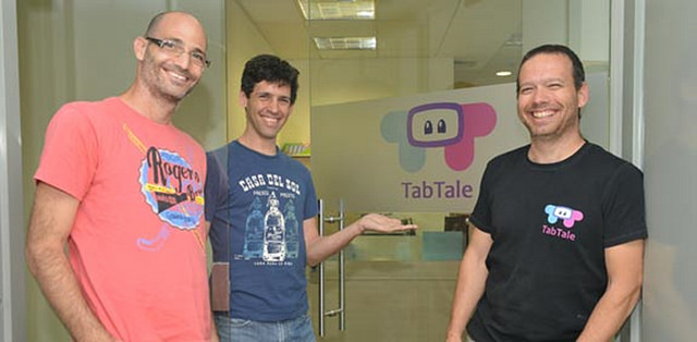 TabTale founders, from left, CTO Nir Bejerano, President Oran Kushnir and CEO Sagi Schliesser.