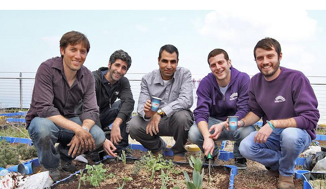 Haifa students experiment with java to grow flowers and herbs.
