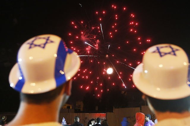 Jerusalem celebrates Independence Day with fireworks. Photo by Miriam Alster/Flash90