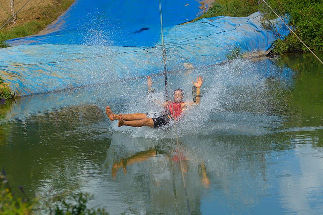 The Kfar Blum Kayaking Center also offers an Omega zip line through the water. Photo courtesy of Kfar Blum