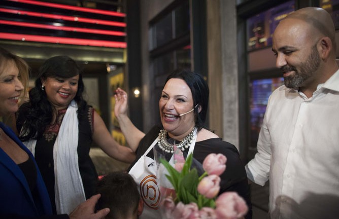 Master Chef contestants congratulate Nof Atamna-Ismaeel on her win.  (Photo by Yonatan Sindel/Flash90)