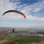 Paraglider fly over the Izrael valley
