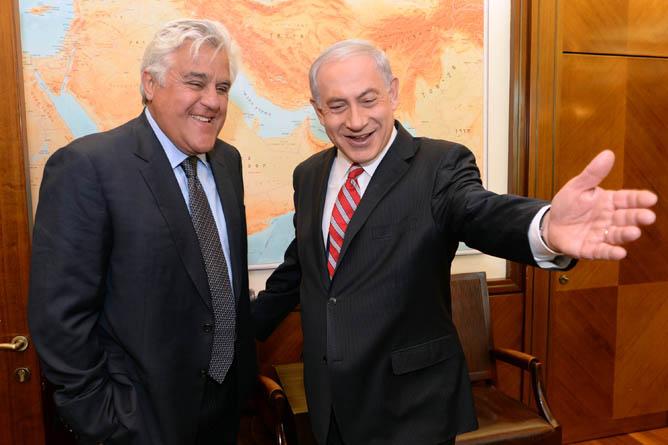 Israel's Prime Minister Benjamin Netanyahu greets American comedian Jay Leno in Jerusalem. (Kobi Gideon/GPO/FLASH90)