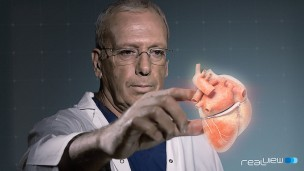 In RealView's pilot study, clinicians manipulated the projected 3D heart structures by touching the holograms.