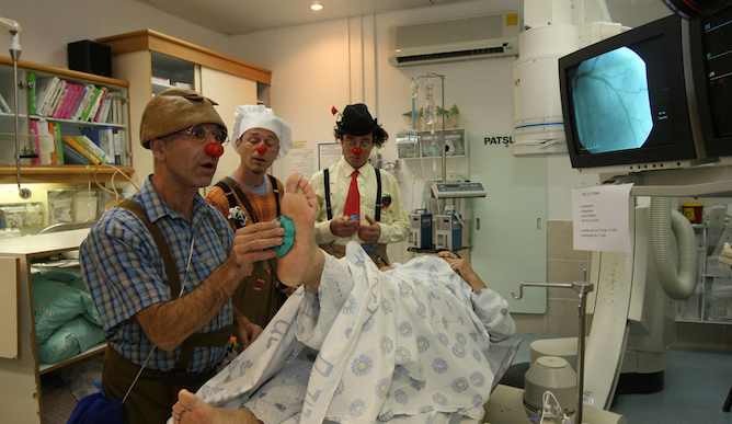 Medical clowns at work in Rambam Health Care Campus, Haifa.