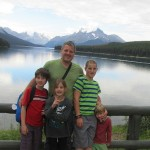 Gonen Fink with his children at Emerald Lake, British Columbia, Canada.